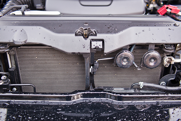An image of a car with a newly fitted radiator.