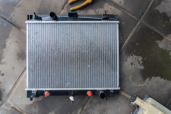 An image of a new radiator ready to be installed